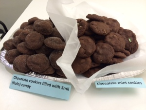 chocolate cookies with mint chips; chocolate cookies filled with Smil candy
