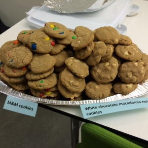 white chocolate macadamia and M&M cookies